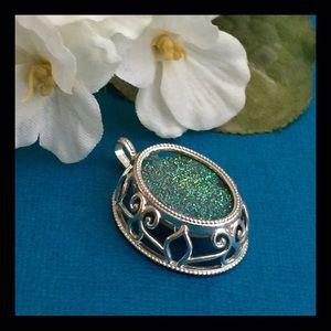 Vintage druzy sterling pendant
